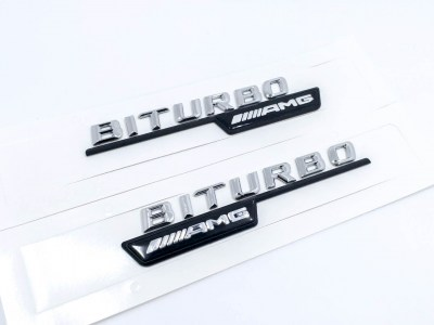 2PCS-Chrom-BITURBO-AMG-Number-Letters-Trunk-Emblem